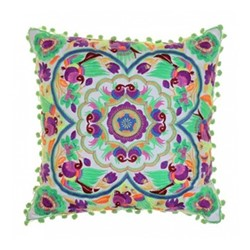 Acapulco Embroidered cushion, L40 x W40cm, green