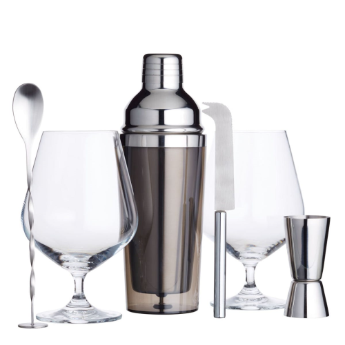 BarCraft Gin cocktail gift set, 37 x 11.5 x 31.5cm, Stainless Steel