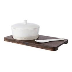 Cheese knife set, L28 x W15 x H9cm, stoneware / wood