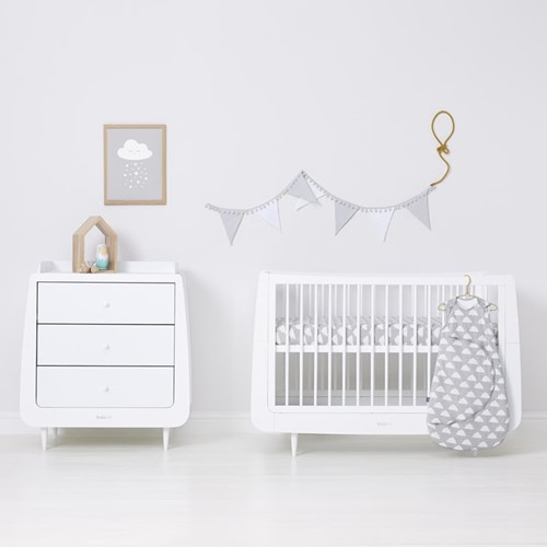 Cloud Nine Set of 2 cot/cot bed fitted sheets, W70 x L140cm, Grey/White