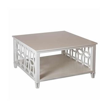 Fretwork Yarrow Coffee table, W85 x D85 x H46cm, soft grey
