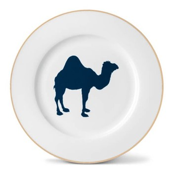 Camel Dinner plate, 26cm, hand-painted gold rim