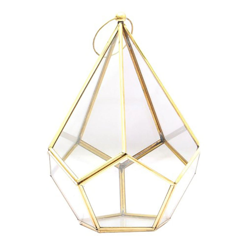 Bronze Hanging terrarium, H19.5 x W19.5 x D26cm, Glass/Metal