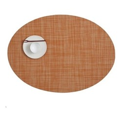 Mini Basketweave Set of 4 oval placemats, 36 x 49cm, clementine