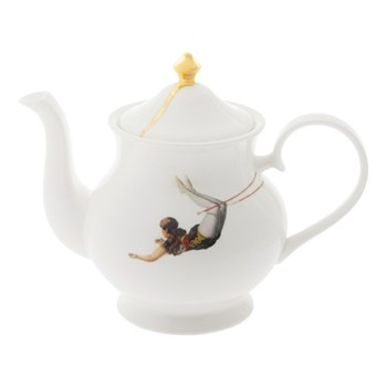 Trapeze Large teapot, H18 x W22 x D10cm, crisp white/burnished gold details
