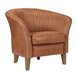 Crosby Armchair, L83 x W72 x H70cm, aged tobacco leather