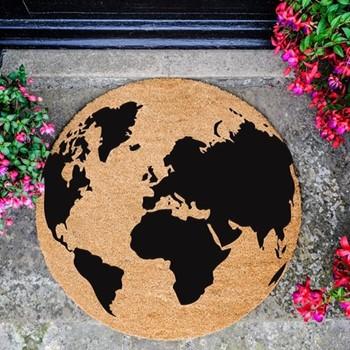 Globe Circle Doormat , L70 x W70 x D1.5cm, natural/black