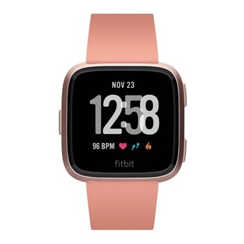 Fitbit Versa Health & fitness smartwatch with heart rate monitor, W4.1 x D25.6cm, peach & aluminium