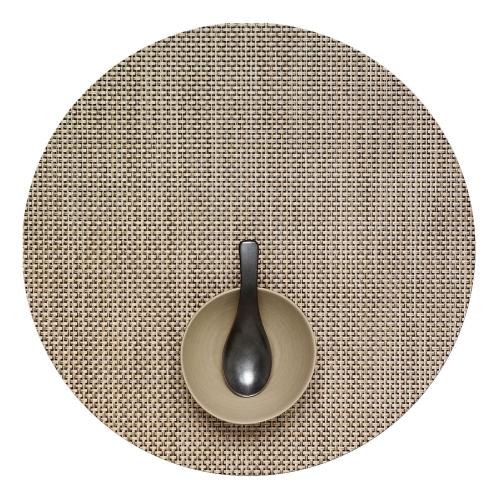 Basketweave Set of 4 round placemats, 38cm, Latte