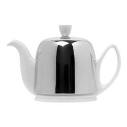 Salam Teapot, H12.5cm - 0.7 litre, white porcelain/aluminium