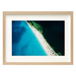 11 Mile Beach, Barbuda by Tommy Clarke Framed fine art photographic print, H75 x W103 x D3.3cm, ash frame