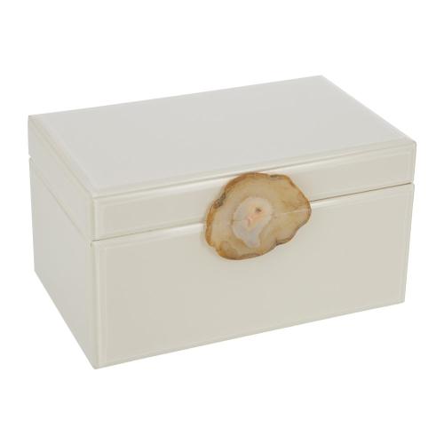 Jewellery box - agate handle, H16 x W30 x D18cm, Ivory