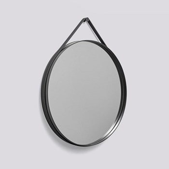 Strap Large wall mounted mirror, D70cm, anthracite