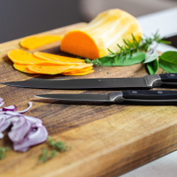 Five piece knife set with natural block