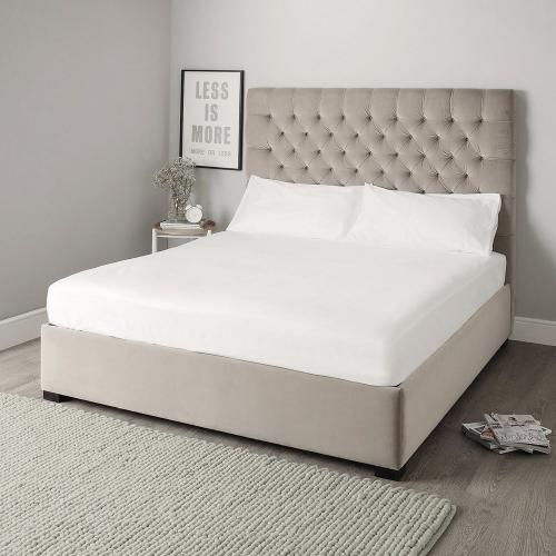 Richmond Super king bed with headboard, H154cm, Stone Velvet