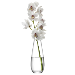 Flower Tall stem vase, 29cm, clear