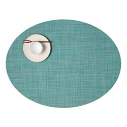 Mini Basketweave Set of 4 oval placemats, 36 x 49cm, turquoise