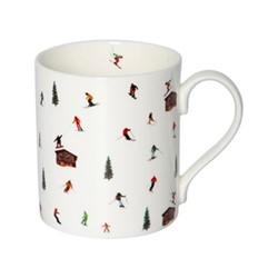 Hut Skiing Mug, H9.5 x W10.5 x D8.5cm - 35cl, multi