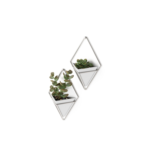Trigg Set of 2 wall vessels, White/Nickel