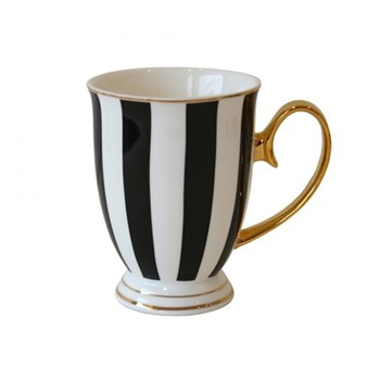 Stripy Set of 4 mugs, H11 x Dia8.5cm, black/white