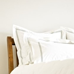 Corded Stitch - 400 Thread Count Square standard pillowcase, W65 x L65cm, wormwood green on white sateen cotton