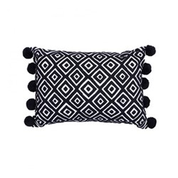 Kabuki Rectangular cushion with pompoms, L50 x W35cm, black/white