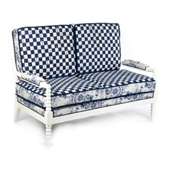 Indigo Outdoor loveseat, W132.08 x H95.25 x W71.12cm, blue & white