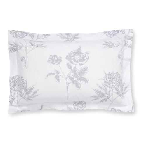 Botanical Oxford pillowcase, 50 x 75cm, White/Blue