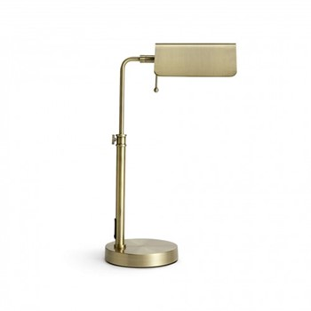 Halsted Bankers table lamp, 45 x 25 x 15cm, antique brass