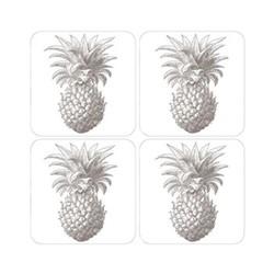 Pineapple Set of 4 coasters, 10 x 10cm, white/grey