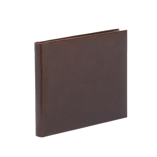 Mocha Range Visitors book with lined pages, 22 x 28.5cm, Full Bound Leather