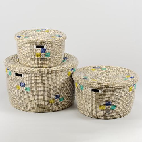 La Brise Medium round storage basket, 25 x 40cm, Morning