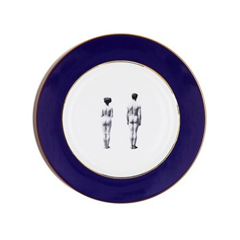 Models Dinner plate, 27cm, crisp white with cobalt blue border/burnished gold edge