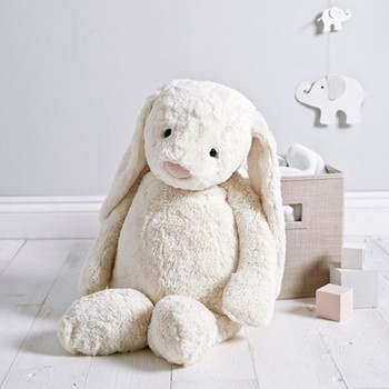 Bashful Bunny Soft toy, 70 x 40cm, white