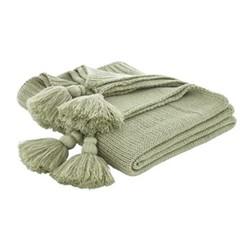 Tassle Knit Throw, 127 x 152cm, green