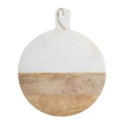 Round paddle board, 40.5 x 50 x 2cm, Mango Wood And White Marble