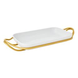 New Living Rectangular porcelain dish & holder, L41 x W27cm, Gold