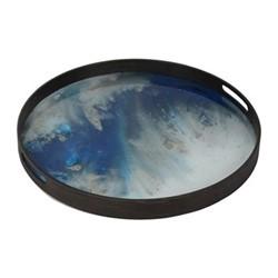 Mist Small glass tray, D48 x H4cm, blue