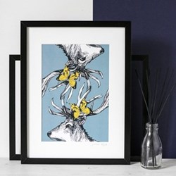 Stag with Butterflies Mounted print, 32.5 x 43cm, black frame