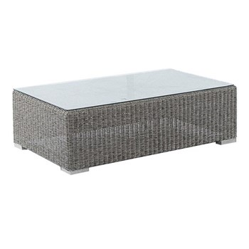 Monte Carlo Coffee table with glass top, 100 x 60cm, grey