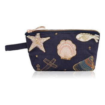 Kenya Collection - Seashell Mini pouch, 16 x 10cm, navy