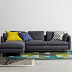 Vento 3 seater left hand facing corner sofa, H77 x W260 x D91cm, grey leather