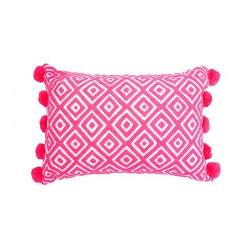 Kabuki Rectangular cushion with pompoms, L50 x W35cm, Coral/White