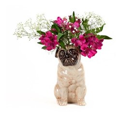 Pug Large flower vase, L12.5 x D21 x H22.5cm, fawn