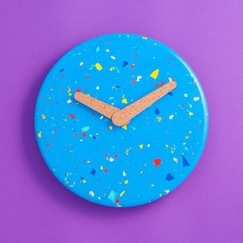 Terrazzo Jesmonite Wall clock, L235 x W235 x H3cm, blue