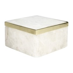 Quartz trinket box, H6.5 x D10cm, white