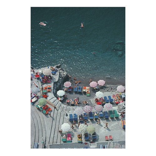 Slim Aarons - Positano Beach Mounted print, H76 x W51cm, Perspex