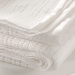 Satin Edged Cellular Cot blanket, 150 x 100cm, white
