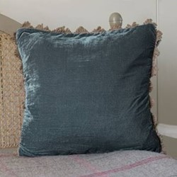Velvet cushion, 45 x 45cm, midnight blue