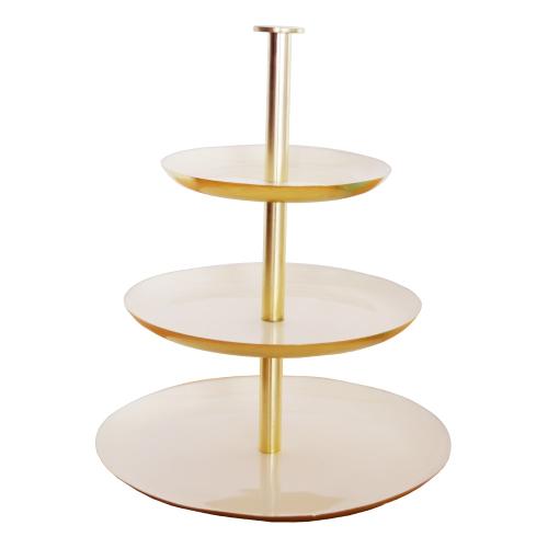 Enamel 3 tier cake stand, gold/cream